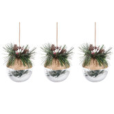 Jute Ball With Snow & Pine Needles Ornaments